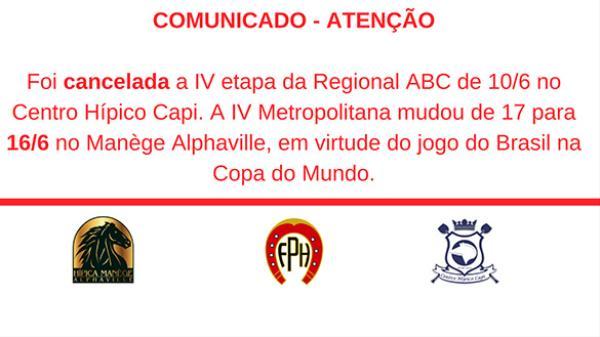 Comunicado - Cancelada 4ª etapa ABC e alterada 4ª etapa Metropolitana