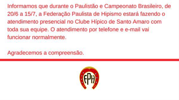 Expediente da FPH durante o Paulistão e Campeonato Brasileiro