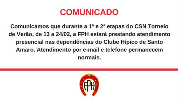 Atendimento FPH Torneio de Verão 2019