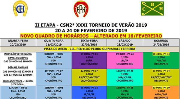 Novo Quadro de Horários 2ª Etapa Torneio de Verão - 16/02