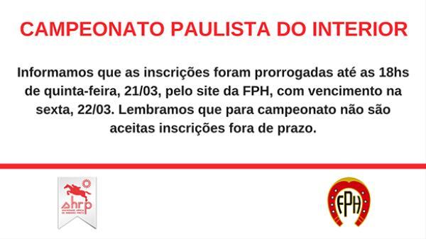 Paulista do Interior tem inscrições prorrogadas até quinta, 21/03