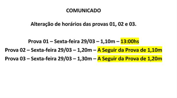 Comunicado Paulista do Interior - Alteração de horário provas 1, 2 e 3
