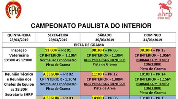 Novo Quadro de Horários Campeonato Paulista do In