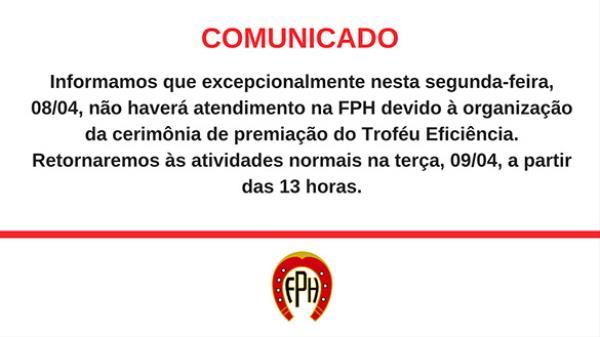 Comunicado   Expediente da FPH retorna 09/04, às
